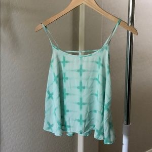 Tops - Teal crop top cut out back